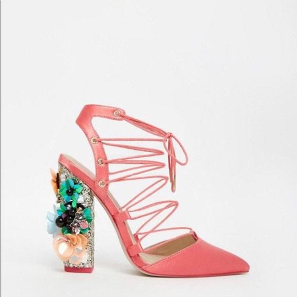 Asos Pink Lace Up Embellished Heels